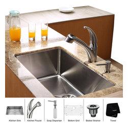 Kraus - Kraus 30 inch Undermount Single Bowl Stainless Steel Kitchen Sink with Kitchen F - *Add an elegant touch to your kitchen with unique Kraus kitchen combo