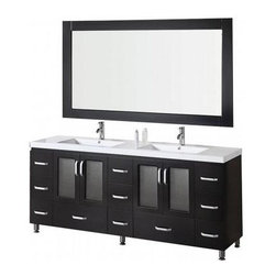 "Design Element - Stanton 72"" Single Sink Vanity Set, Espresso, Drop in Sink - This 72"" double-sink version of the Stanton vanity features quality wood cabinets and drawers, an acrylic counter top with integrated sinks, and chrome pop-up drains. Its handsome and understated look will complement any modern bathroom, while the quality of its materials will ensure that its beauty won't fade over time. Moreover, with a generous eleven drawers and two double-door cabinets, this Stanton is also at the highest standard of utility in its class."