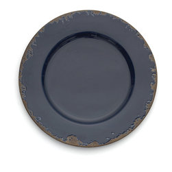 Arte Italica - Scavo Blue Charger - Dress your table with a touch of a bygone era. This charming charger plate, hand made in Italy, has a distressed finish that lends the look of generations past.