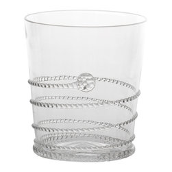 Amalia Double Old Fashioned Glass - The delicate cord texture of the spiral of glass that circles the Amalia Double Old Fashioned is looped twice around the foot of the short cocktail tumbler, giving detail to the base that grounds the look in stylish stability. Swirl your short drinks along the upward path of the spiral and enjoy the elegance and personal statement that even such a simple adornment can add to your serving.
