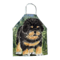 Caroline's Treasures - Tibetan Mastiff Apron SS8031APRON - Apron, Bib Style, 27 in H x 31 in W; 100 percent  Ultra Spun Poly, White, braided nylon tie straps, sewn cloth neckband. These bib style aprons are not just for cooking - they are also great for cleaning, gardening, art projects, and other activities, too!