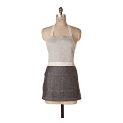 Birdkage - Monterey Mini Combo Bib Apron - You'll be the chicest chef in town wearing this number — an oh-so-sophisticated gray-over-gray mini. The bonus? It's as sturdy as it is stylish, with rugged blue jean rivets and strong cotton ties.