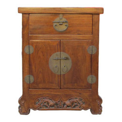 Golden Lotus - Chinese Round Hardware Foo Dog Carving End Table - This hand made end table has enriched accent on the hardware and legs. Round moon face metal hardwares  are used on the doors and drawers. The legs are carved into claw  shape and a pair of foo dogs is carved at the bottom front.