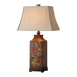 "Uttermost - Uttermost Colorful Flowers Lamp 18 x 12 x 32"", Walnut - Colorful flower print with burnished walnut finished details. The rectangle bell shade is an ivory linen fabric.Designer: Grace FeyockWattage: 150WDimensions: 18"" depth by 12"" width by 32"" heightMaterial: MDF"