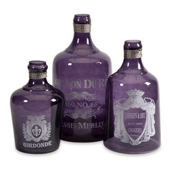 Vintage French Karlin Purple Glass Bottles - Set of 3 - *Add a classic touch to your kitchen with the Karlin purple glass bottles. They are inspired by vintage apothecary labels aged to perfection.