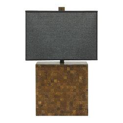 """AF Lighting - AF Lighting Candice Olson Sahara Coconut Wood Table Lamp w/ Linen Shade - AF Lighting 6799-TL Candice Olson """"Sahara"""""""