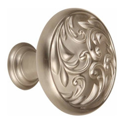 Alno Inc. - Alno Ornate 1 1/4 Inch Knob In Satin Nickel - Alno Ornate 1 1/4 Inch Knob In Satin Nickel