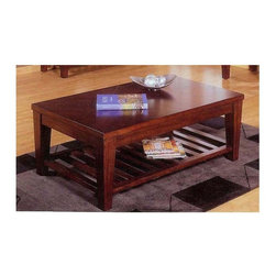 Alpine Furniture - Livingston Rectangular Cocktail Table - Bottom shelf. Six months warranty. Made from rubber wood solids and birch veneer. Wingate finish. 50 in. W x 32 in. D x 19 in. H