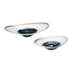 Cyan Design - Cobalt Oval Bowl - Large - Large cobalt oval bowl - clear and cobalt