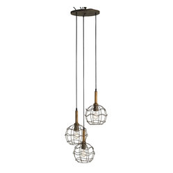 Currey and Company - Trio Cage Pendant - Highlight your kitchen countertop or breakfast nook with this chic pendant, featuring a show-stopping trio of wrought iron encased bulbs. Its simple design lends a touch of rustic allure, without overpowering your ambience.