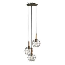 Currey and Company - Sibley Trio Pendant - Highlight your kitchen countertop or breakfast nook with this chic pendant, featuring a show-stopping trio of wrought iron encased bulbs. Its simple design lends a touch of rustic allure, without overpowering your ambience.