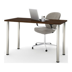 Bestar - Bestar Work Table with Round Metal Leg in Chocolate - Bestar - Computer Desks - 6585269 - The BESTAR work table has the capability to fit in any room and can adapt to many uses. The integrated levelers allows the work table to adapt to any floor irregularities. The round metal leg is included with the work table and has a 10 year warranty with a Chocolate finish.