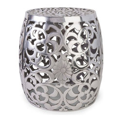 IMAX Worldwide - IMAX Worldwide Paige Aluminum Garden Stool in Silver - The modern floral pattern featured on the Paige aluminum garden stool adds a contemporary shine to any display.
