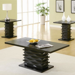 Coaster - 3-Pc Occasional Table Set in Stark Black Fini - Includes one coffee table and two end tables. Contemporary style. Square end and rectangular coffee table. Wave-design around the base. End table: 23.75 in. W x 23.75 in. D x 23.25 in. H. Coffee table: 47.5 in. W x 23.75 in. D x 19.5 in. H. WarrantyYou can have an interesting display in your living room with this occasional group. In addition, ash veneer tops cover the pieces, allowing for attractive storage of vases, magazines and fruit baskets. Bring an unique quality into your home decor with this three-piece set.
