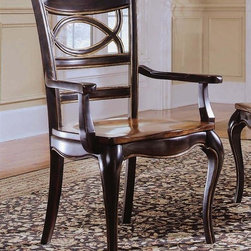 Hooker Furniture - Preston Ridge Oval Back Arm Chair - Set of 2 - Set of 2. Traditional style. Wooden seat. Four tack in floor glides. Made from hardwood solids with cherry, mahogany and white ash burl veneers. Distinctive black rub-through with rich contrasting cherry finish. Arm narrowest point length: 16.5 in.. Arm widest point length: 19.88 in.. Arm height: 24.88 in.. Seat depth: 18.88 in.. Seat height: 18 in.. Overall: 26 in. W x 24 in. D x 40 in. H