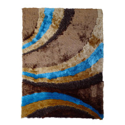 Rug - High Quality Brown/Blue Living Room Shaggy Area Rug, Brown/Blue, 5 X 7 Ft., Geom - SHAGGY VISCOSE DESIGN COLLECTION