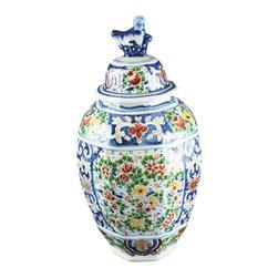 Boch - Consigned Antique Folk Art Delftware Ginger Jar Vase - Product Details