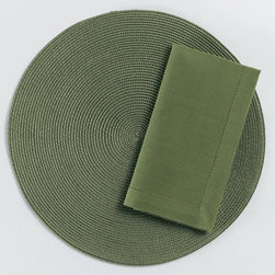 "Origin Crafts - Olive round woven placemats set of 4 - Olive Round Woven Placemats Set of 4 Napkins & Placemats sold separately. Sets of four. Durable. Virtually stain resistant. Woven w/polypropylene plastic and cotton thread. Wipe clean w/damp cloth. Dimensions: Placemats - 15"" dia. Napkins - 20"" x 20"" By Tag Ltd. - Tag Ltd. is a supplier of"