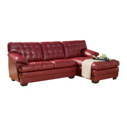 Homelegance - Homelegance Brooks Sectional in Red Leather - Relaxation is serious business. Serious comfort is what the Brooks Collection offers in this substantially sized upholstered seating group. Channel-tufted, bonded leather covers the pillow arms, overstuffed cushions and is offered in a rich dark brown or red. The unique feature of this collection is the wide chaise that extends from the sectional sofa. The coordinating ottoman tucks neatly into the face of the sofa, effectively extending your lounging space.