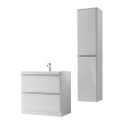 "35.5"" Avesta White Modern Single Bath Vanity Double Bundle"
