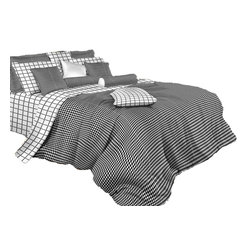 Dolce Mela - Black and White Check Luxury 100% Cotton Duvet Cover Set, Dolce Mela Bedding, Qu - Decorate with vogue and perk up your bedroom's decor with this amazing black and white bedding design.