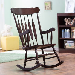 Belham Living - Belham Living Nursery Rocker - Espresso - R3009-ESP - Shop for Rocking from Hayneedle.com! Gently rock your baby to sleep during naptime or bedtime with this Belham Living Nursery Rocker- Espresso. Made of solid wood with a warm dark espresso finish this rocker is a lovely fit to any nursery or baby's room. This chair has it all for mother and baby: the arms and seat are both contoured for extra space and comfort while feeding. The legs of the chair also features a unique spindle design. About Belham LivingBelham Living builds catalog-quality furniture in traditional styles at a price that actually makes sense. By listening to our customers and working closely with great manufacturers we build beautiful pieces worthy of your home. Rich wood finishes attention to detail and stylish lines that tie everything together are some of the hallmarks of a Belham Living piece. From the living room or bedroom through the kitchen and out onto the deck there's something from an incredible Belham collection perfect for your style.
