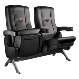 Dreamseat Inc. - Minnesota Wild NHL Row One VIP Theater Seat - Triple - PLEASE NOTE: This item is the 3-seat version. We apologize that we do not have photos of 3 together. Check out these fantastic home theater chairs. These are the same seats that are in the owner's VIP luxury boxes at the big stadiums. It has a rocker back and padded seat, so it's unbelievably comfortable - once you're in it, you won't want to get up. Features a zip-in-zip-out logo panel embroidered with 70,000 stitches. Converts from a solid color to custom-logo furniture in seconds - perfect for a shared or multi-purpose room. Root for several teams? Simply swap the panels out when the seasons change. This is a true statement piece that is perfect for your Man Cave, Game Room, basement or garage.