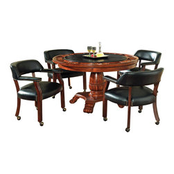 Steve Silver Furniture - Steve Silver Tournament 5-Piece Game Table Set in Brown - The Classic Cherry Gaming Table Set has an attractive Cherry finish that will make a lovely addition to your home bar, billiards room or game room. Features include highly detailed woodworking and intricate carvings. Each of the matching chairs features detailed craftsmanship, casters which provide mobility, comfortable padded seats and backs that have decorative nail head trim and are upholstered in a durable leather that is easily cleaned. The Game table top includes poker chip and drink holders with an upholstered top for playing the ultimate games.