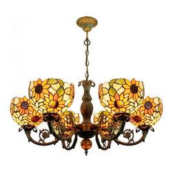 ParrotUncle - Tiffany Sunflower Ceiling Lighting Chandelier 6 Lights - Tiffany Sunflower Ceiling Lighting Chandelier 6 Lights