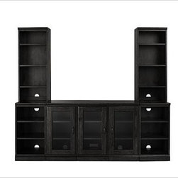 """Printer's Medium Media Suite with Towers, Artisanal Black stain - While wandering through an estate sale, our designer discovered a vintage printer's cabinet in the basement. Pieces of metal type were still stored in its 26 drawers, with each dedicated to a different font. This handsome armoire captures the symmetry of the original design, with bluff cut doors that are artfully detailed. Medium: 80"""" wide x 20"""" deep x 69.5"""" high; holds up to a 45"""" flat-screen TV. Large (shown): 96"""" wide x 20"""" deep x 69.5"""" high; holds up to a 55"""" flat-screen TV. Medium Suite includes one glass door double pedestal, one glass door pedestal, two bookcase pedestals, two bookcase hutches, two single tops and one triple top. Large Suite includes one glass door double pedestal, two glass door pedestals, two bookcase pedestals, two bookcase hutches, two single tops and one quadruple top. The glass door pedestal fits components up to 14"""" wide and is perfect for storing baskets of DVDs, video game consoles that stand vertically, games or other related items. The glass door double pedestal fits media components up to 30"""" wide. Glass doors permit the use of remote controls while protecting your components. The Tuscan chestnut finish is hand applied in layers, with distressing and burnished edges that give the collection the look of a well-loved antique. Fitted with antique bronze cup pulls. Wood swatches, below, are available for $25 each. We will provide a merchandise refund for wood swatches if they're returned within 30 days. Watch a video about the versatility of our {{link path='/pages/popups/printers_video_popup.html?cm_sp=Video_PIP-_-PBQUALITY-_-PRINTERS' class='popup' width='450' height='300'}}Printer's Collection{{/link}}. Watch a video about the unique character of our {{link path='/stylehouse/videos/videos/pbq_v4_rel.html?cm_sp=Video_PIP-_-PBQUALITY-_-ANDOVER_MEDIA' class='popup' width='950' height='300'}}media storage{{/link}}. View our {{link path='pages/popups/fb-home-office.html' """