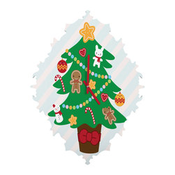 DENY Designs - DENY Designs Marceline Smith Cute Christmas Tree Baroque Clock - It's about time to check out DENY's Baroque Clock and turn up the fancy on that plain Jane wall of yours with this sleek design.
