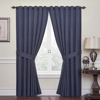 Waverly - Waverly Framework Window Panel Multicolor - 13415052084IND - Shop for Curtains and Drapes from Hayneedle.com! Your home will be draped in elegance when you hang the Waverly Framework Window Panel. Exquisite and versatile this back tab window panel features geometric bicolor trellis on a navy blue ground. Perfect for kitchen bedroom living room or bath. One panel is included and most windows require more than one panel (each panel sold separately). Hang two panels and two valances for optimal coverage and look. Tieback included machine washable.About Ellery HomestylesOffering curtains bedding throws and specialty products Ellery Homestyles is a leading supplier of branded and private-label home-fashion products. Their products deliver innovation in fashion function and design and include names like Eclipse Curtainfresh SoundAsleep ComfortTech Vue and Waverly. Their 357 000 square foot facility in Lumber Bridge North Carolina includes a high-speed pillow filling operation with a capacity of approximately 40 000 pillows a week.