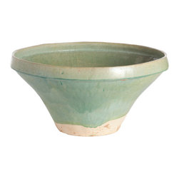 Sage Chinese Pot - Bowl - Nestled into a shelving unit, filled with river rocks or arranged into a centerpiece, this ceramic sage green bowl can occupy those small empty places your home. It's handmade, so the size and the glaze may vary slightly giving each one their own unique differences.