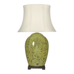 "Oriental Furniture - 32"" Harvest Season Porcelain Lamp - Unique ""flattened"" design oriental lamp, perfect for centered display lighting in a narrow space, along a wall, or on a sofa table. Top quality Chinese porcelain spice jar lamp body with delightful Mandarin style figures and line art floral medallions. Distinctive decorative lighting for a look both timeless and contemporary."