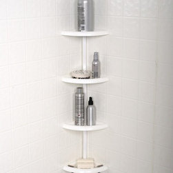 Zenith Products - Zenith E2104W Tub and Shower Tension Pole Caddy - White - E2104W - Shop for Shower and Tub Caddies from Hayneedle.com! The Zenith E2104W Tub and Shower Tension Pole Caddy - White has 4 large plastic shelves that adjust so you can store a variety of items of all shapes and sizes.About ZenithZenith Products Corporation is America's leading manufacturer of bathroom storage and organizational products for the retail market. Zenith offers a wide line of items and accessories that are both attractive and functional. Customers can choose from bath furniture in a variety of finishes materials sizes and designs. These products are complemented by matching space-savers tank-toppers and storage items that enable homeowners to make maximum use of bathroom space. Zenith helps decorate and organize bath and shower enclosures with its patented Twist-Tight curtain rods and broad range of shower caddies and lotion dispensers available in a wide array of styles and colors. Based in New Castle Del. Zenith products are distributed nationwide through home centers bath specialty shops mass merchants and catalog retailers.