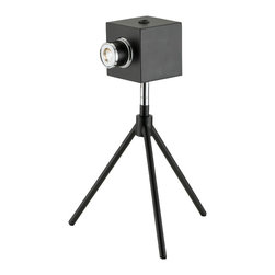 "Adesso Inc. - Click Led Desk Lamp - Matte black metal camera lamp has chrome accents. 5 Watt LED shines through camera lens, which extends 1.25"" from light box shade. On/off rocker switch on top of shade. 13"" Height, 3"" Square shade. 9.25"" Tripod base. CRI:80; Color Temp: 4000K; 620 Lumens."