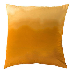 """Gold Shimmer Pillow - 22"""" x 22"""" - When you need a pop color, the Gold Ombre Pillow is ideal in that capacity. Deep peach and gold lends itself to the style of the season with a gradual ombre tone that lightens gorgeously from top to bottom. Looks wonderful with gray and white tones, a pair of these pillows would look as elegant as can be perched at either end of a white sofa."""
