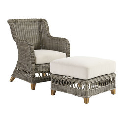 "Ballard Designs - Laurel Lounge Chair & Ottoman - Coordinates with Laurel Outdoor Collections and Classic Teak Collections. Includes washable off-white box cushions. Cushions are extra thick for long lasting comfort with tailored top stitching on all seams. All cushions attach to ""D"" rings for snug fit that stays in place. Weathered gray finish. The Laurel Outdoor Collection has a classic look that reminds us of warm summer days from long ago. Each piece starts with a sturdy, rust-resistant aluminum frame and then hand woven of durable, all-weather wicker to resist fading and damaging moisture. Off-white box cushion and natural teak feet add the perfect finishing touches. Laurel Lounge Chair & Ottoman features: . . .  . . Natural teak feet. Use of an outdoor furniture cover is recommended to extend the life of your piece."