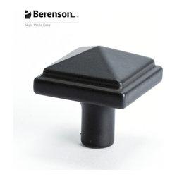 3049-155-P Black Cabinet Knob by Berenson - 1-3/16 inch long artisan style cabinet knob by Berenson in Black.