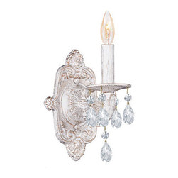 Crystorama - Crystorama Sutton 1-light Wall Sconce in Antique White - Add a touch of elegance to your home with an antique white 1-light wall sconce. The sconce features hand-polished crystal and takes a single 60-watt candelabra bulb. Measures 12 tall x 6.5 wide. Sconce sticks out about 6 from the wall.