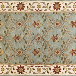 "Venezia - Adhar 3'6"" X 5'6"" 100% wool pile area rug in light green - Venezia Collection - Adhar 3'6"" X 5'6"" 100% wool pile area rug in light green"