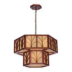 Antique Wood and Parchment Shade Pendant Lighting -