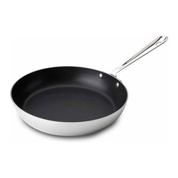 """All Clad - All Clad SS Nonstick French Skillet, 11"""" - Timeless design, outstanding performance, effortless cleaning and lifetime durability come together to make the Stainless Collection cookware  All-Clads most popular. Featuring innovative bonded construction combining an interior layer of aluminum for even heating and an 18/10 stainless cooking surface for optimum culinary performance, All-Clad Stainless cookware is a classic expression of ideal form and function. Premium tri-ply construction with an aluminium core to deliver even heat distribution."""
