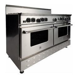"60"" BlueStar RNB Range - Stainless-Steel 60"" RNB Gas Range with 8 Burners and a griddle, can come in 190 different colors. This burner configuration is just one of the many options."