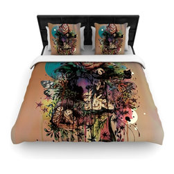"""Kess InHouse - Mat Miller """"Doom and Bloom"""" Dark Rose Woven Duvet Cover (King, 104"""" x 88"""") - Add a splash of artistically inclined comfort to the average down comforter with a large focus to your bed! Our duvet cover is made of a beautifully crafted woven polyester fabric on top and a comforting and soft cotton/poly blend on bottom! We highly recommend washing your artwork before laying it onto your bed for added comfort and softness! These are totally machine washable and won't fade!�"""
