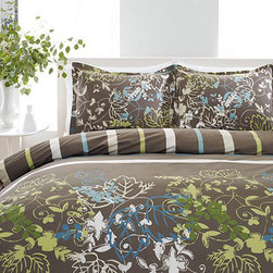 Perry Ellis - Perry Ellis Sweet Bay 3-piece Mini Duvet Cover Set - Dress your bedroom in the latest designer trend with this Perry Ellis printed duvet cover in sophisticated shades of brown,lime green,turquoise and white. 100- percent cotton and machine washable,this contemporary floral reverses to a bold stripe.