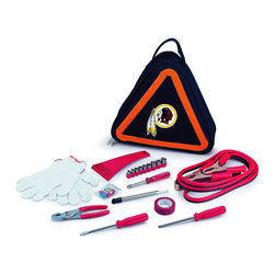 "Picnic Time - Washington Redskins Roadside Emergency Kit in Black - The Roadside Emergency Kit by Picnic Time will give you peace of mind knowing that you're prepared when an unexpected auto emergency arises. The kit features a triangular-shaped tote with carry handle that doubles as a reflective hazard warning sign and contains essential tools for roadside emergency repair, including: 1 set of jumper cables (8.2-ft long, 15-gauge copper with laminated instructions tag affixed to the cables), 1 heavy-duty plastic ice scraper, 1 tire-pressure gauge, 1 9-piece ratchet set (socket sizes ranging from 3/16"" to 1/2"") with rigid hand driver, 1 pair of standard slip-joint pliers, 1 flathead screwdriver (7-1/4""), 1 Phillips screwdriver (7-1/4""), 1 roll of red electrical tape, blade-style automotive fuses: (1) 10 amp, (2) 15 amp, and (1) 20 amp, 1 pair of white work gloves (woven heavy-duty cotton blend), and insulated ring and spade terminals (3 of each). Makes a great gift for any car owner.; Decoration: Digital Print; Includes: 1 set of jumper cables (8.2-ft long, 15-gauge copper with laminated instructions tag affixed to the cables), 1 heavy-duty plastic ice scraper, 1 tire-pressure gauge, 1 9-piece ratchet set (socket sizes ranging from 3/16"" to 1/2"") with rigid hand driver, 1 pair of standard slip-joint pliers, 1 flathead screwdriver (7-1/4""), 1 Phillips screwdriver (7-1/4""), 1 roll of red electrical tape, blade-style automotive fuses: (1) 10 amp, (2) 15 amp, and (1) 20 amp, 1 pair of white work gloves (woven heavy-duty cotton blend), and insulated ring and spade terminals (3 of each)"