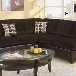 Poundex Furniture – U-Shaped Modular Microfiber Sectional Sofa - F7234/F7233 - Set Includes 2 Seater, Wedge And Chaise