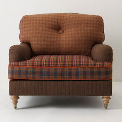 "Winifred Colorblock Chair, Houndstooth - Anthropologie.com - I can't resist this hodge-podge of a chair. It's kind of Archie Bunker meets orange piping and reclaimed plaid blazers. There's another similar but not the same one in Anthro's catalog; I'd love to have the two as a pair.Walker finish, Caster feet, Eight-way hand-tied seat constructionWool upholstery, Hardwood frame; down fill32""H, 41""W, 38""D; Seat: 18.5""HHandcrafted in USA $2498.00"