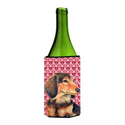 Caroline's Treasures - Dachshund Hearts Love Valentine's Day Portrait Wine Bottle Koozie Hugger - Dachshund Hearts Love and Valentine's Day Portrait Wine Bottle Koozie Hugger LH9166LITERK Fits 750 ml. wine or other beverage bottles. Fits 24 oz. cans or pint bottles. Great collapsible koozie for large cans of beer, Energy Drinks or large Iced Tea beverages. Great to keep track of your beverage and add a bit of flair to a gathering. Wash the hugger in your washing machine. Design will not come off.